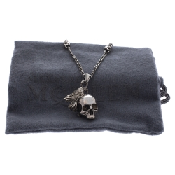 Alexander McQueen Raven Skull Silver Tone Pendant Chain Necklace