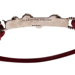 Alexander McQueen Red Snake and Horse Cord Adjustable Bracelet