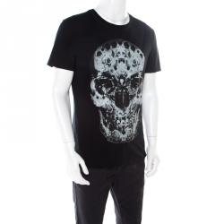 Alexander McQueen Black Cotton Moth Printed Skull T-Shirt L