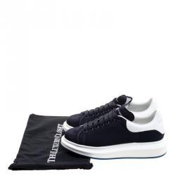 Alexander McQueen Navy Suede and Mesh Platform Sneakers Size 43