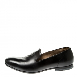 Alexander Mcqueen Black Leather Skull Detail Loafers Size 42.5