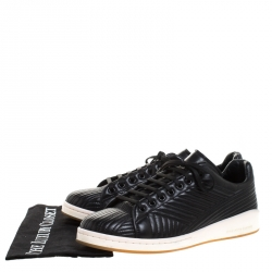 Alexander McQueen Black Quilted Leather Low Top Sneakers Size 42