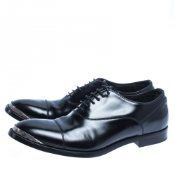 Alexander McQueen Black Leather Lace Oxford Size 42.5