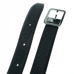 Alfred Dunhill Black Chassis Leather Belt Size 107 CM