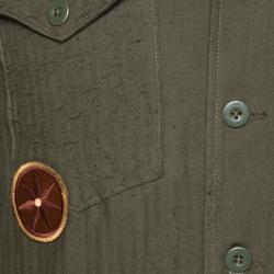 Amiri Khaki Distressed Cashmere Blend Patchwork Boy Scout Shirt L