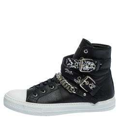 Amiri Black Leather Sunset Bandana Lace High Top Sneakers Size 42