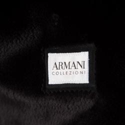 Armani Collezioni Black Faux Suede Faux Fur Lined Overcoat XL