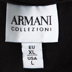 Armani Collezioni Black Cotton Leather Panel Insert T-Shirt XL