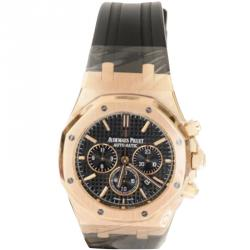 Audemars Piguet Black 18K Rose Gold Royal Oak Chronograph Men's Watch 41MM