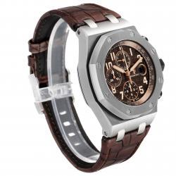 Audemars Piguet Brown Stainless Seel Royal Oak Offshore Havana Chronograph 26470ST Men's Wristwatch 42 x 54 MM