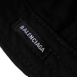 Balenciaga Black Canvas Twill Logo Embroidered Baseball Cap L