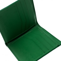Balenciaga Green Leather Grid Square Bifold Wallet