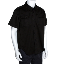 Balenciaga Black Cotton Short Sleeve Safari Shirt M