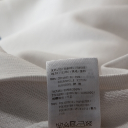Balenciaga White Embroidered Logo Cotton Oversized Hoodie XS