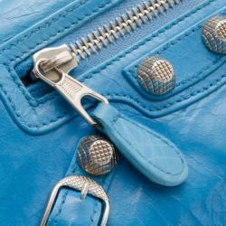 Balenciaga Blue Leather Classic Money Wallet