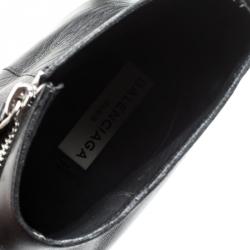 Balenciaga Black Leather Asymmetric Zip Ankle Boots Size 43