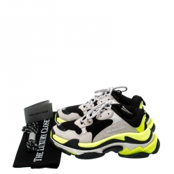 Balenciaga Multicolor Mesh And Leather Triple S Platform Sneakers Size 38