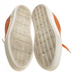 Balenciaga Orange Leather Lace Up Hi Top Sneakers Size 43