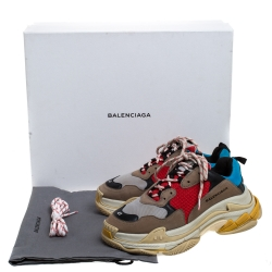 Balenciaga Multicolor Mesh, Nubuck And Leather Triple S Platform Sneakers Size 41