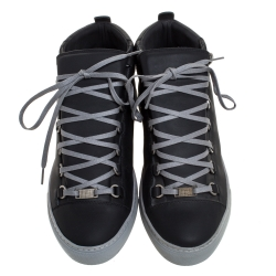 Balenciaga Grey Leather Arena Mid Top Sneakers Size 41