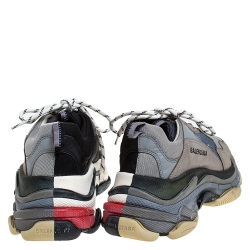 Balenciaga Grey/Black Mesh And Leather Triple S Low Top Sneakers Size 41