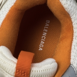 Balenciaga White/Orange Mesh Fabric and Leather Track Lace Up Sneakers Size 43