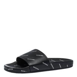 Balenciaga Black Leather Logo Stamped Slide Sandals Size 41