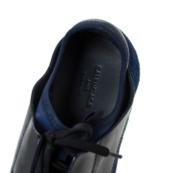 Balenciaga Blue/Black Leather And Mesh Race Runners Sneakers Size 40