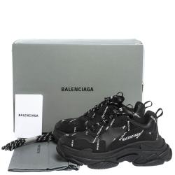 Balenciaga Black Leather And Nubuck Allover Logo Triple S Platform Sneakers Size 41
