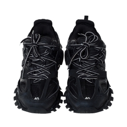 Balenciaga Black Leather/Mesh Track Lace Up Sneakers Size 40