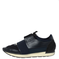 Balenciaga Blue Leather And Mesh Race Runner Low Top Sneakers Size 45