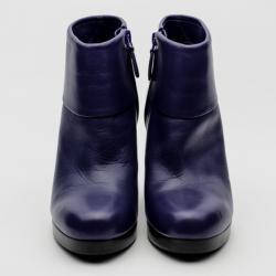 Balenciaga Purple Leather Platform Ankle Boots Size 37