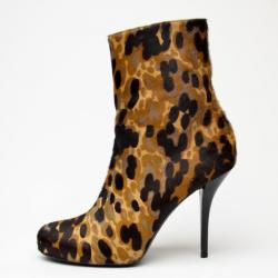 Balenciaga Leopard Printed Pony Hair Ankle Boots Size 39.5