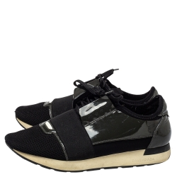 Balenciaga Black/Olive Green Mesh And Patent Leather Race Runner Sneakers Size 42