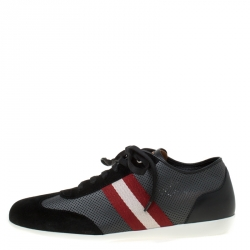Bally Tricolor Perforated Leather And Suede Harlam Sneakers Size 40