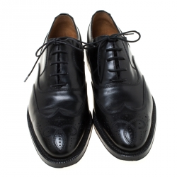 Bally Black Leather Wingtip Lace Up Oxfords Size 41