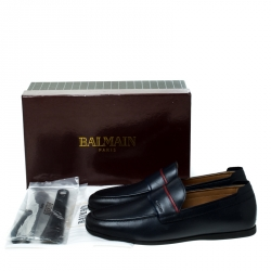 Balmain Blue Leather Loafers Size 42