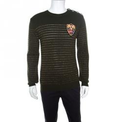 0cf050da6b675 Balmain Military Green Striped Lurex and Merino Wool Crest Badge Detail  Sweater L