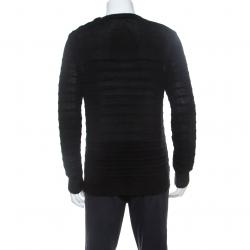 Balmain Black Linen Knit Shoulder Button Detail Sweater L