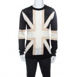 Balmain Tricolor Linen Blend Rip Detail Union Jack  Sweater L