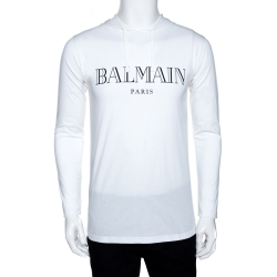 Balmain White Logo Print Cotton Long Sleeve Hooded T-Shirt S