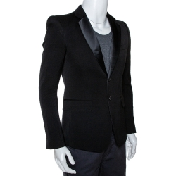 Balmain Black Wool Two Buttoned Tuxedo Jacket M