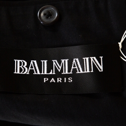 Balmain Black Cotton Belted Double Breasted Coat M