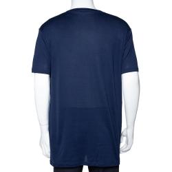 Balmain Midnight Blue Logo Print Cotton Short Sleeve T-Shirt XL