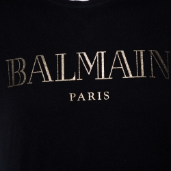 Balmain Black Cotton Logo Foil Print Crew Neck T Shirt M