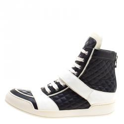 Balmain Monochrome Quilted Leather High Top Sneakers Size 45