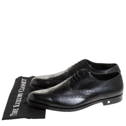 Balmain Black Leather Brogue Detail Lace Up Oxfords Size 45