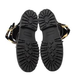 Balmain Black Velvet Eagle Combat Boots Size 41