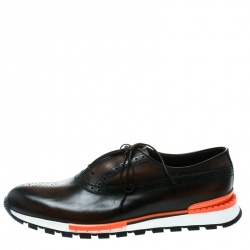 Berluti Brown Leather Fast Track Brogue Sneakers Size 44