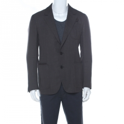 Berluti Brown Regular Fit Wool and Silk Blend Blazer L